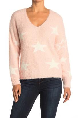 Lush Eyelash Knit Star Print Sweater