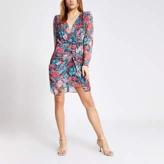 River Island Womens Blue floral twist front mini dress