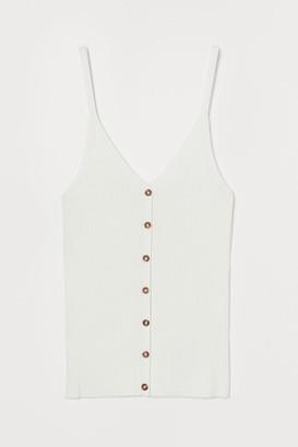 H&M Rib-knit Tank Top - White