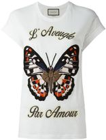 Gucci embroidered butterfly T-shirt - women - Cotton/Acrylic/Polyester/Mohair - S