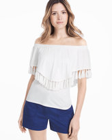 White House Black Market Yuma Off-the-Shoulder Tassel Tee