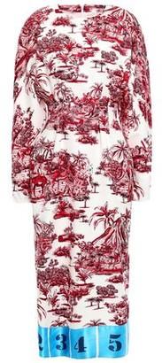Stella Jean Satin Jacquard-trimmed Printed Ottoman Midi Dress