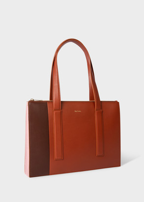 Paul Smith Women's Brown And Pink Leather Zip-Top 'Concertina' Small Tote Bag