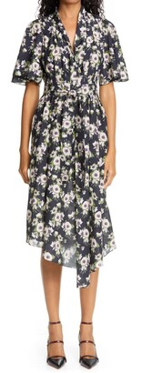 Adam Lippes Floral Asymmetrical Cotton & Silk Dress