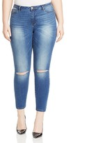 Junarose Distressed Skinny Ankle Jeans in Dark Blue