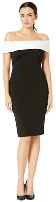 Calvin Klein Off-the-Shoulder Color Block Sheath Dress (Black/Cream) Women's Dress