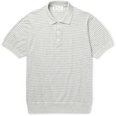 Brunello Cucinelli - Striped Knitted Cotton Polo Shirt