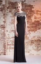 Mignon Jeweled Cap Sleeve Jersey Gown AL1889B