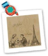 3dRose LLC qs_110405_4 PS Vintage - Amore couple in Paris vintage art - Quilt Squares
