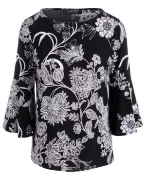 Kasper Floral-Print Bell-Sleeve Top