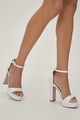 Nasty Gal Womens Platform Heel with Skinny Block Heels and Platform Sole - White