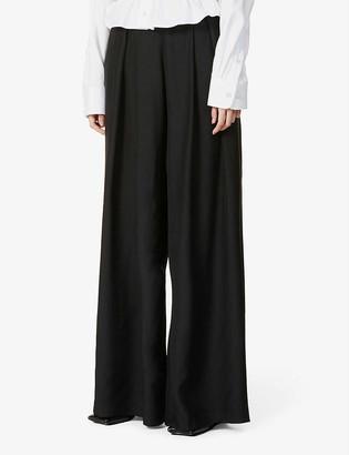 GAUGE81 Saga high-rise wide-leg silk-satin trousers
