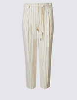 M&S Collection PETITE Linen Rich Tapered Leg Trousers