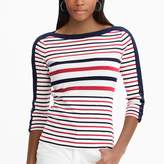 Chaps Petite Lace-Up Sleeve Boatneck Top