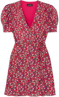 Saloni Lea Floral-print Silk Crepe De Chine Mini Dress