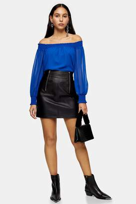 Topshop Black Faux Leather Zip Detail Mini Skirt