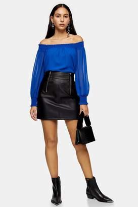 Topshop Womens Black Faux Leather Zip Detail Mini Skirt - Black