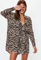 Missguided Rust Oversized Zebra Print Jersey Shirt Dress