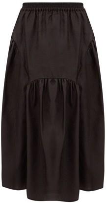Cecilie Bahnsen Eve Gathered Rose-cloque Midi Skirt - Black