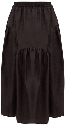 Cecilie Bahnsen - Eve Gathered Rose-cloque Midi Skirt - Womens - Black