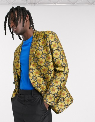ASOS DESIGN slim double breasted blazer in mustard geo jacquard