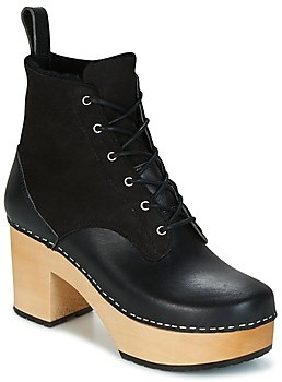 Swedish Hasbeens HIPPIE LACE UP women's Low Ankle Boots in Black