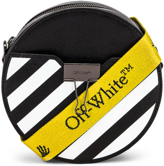 Off-White Diagonal Round Bag in Black & White | FWRD