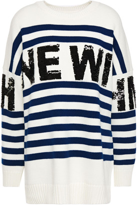 Maje Mystica Sequin-embellished Striped Intarsia-knit Sweater