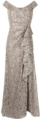 Tadashi Shoji Audre cascading metallic gown