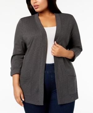 Karen Scott Plus Size Cotton Cozy Cardigan, Created for Macy's
