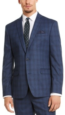 Bar III Men's Slim-Fit Stretch Blue Plaid Suit Jacket, Created for Macy's