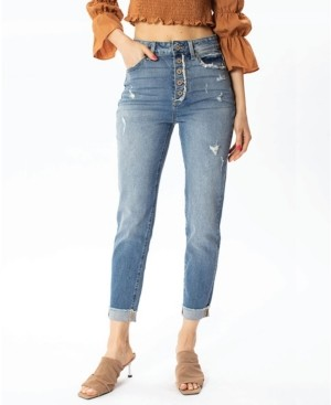 Thumbnail for your product : Kancan Women's High Rise Button-Fly Mom Jeans