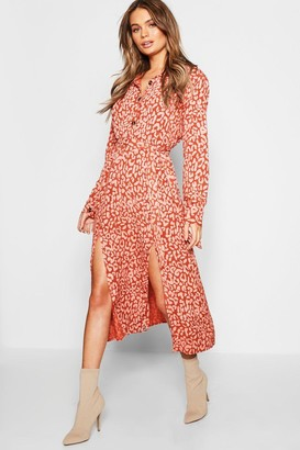 boohoo Leopard Collar Button Through Belted Midi Dress