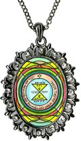 Artisan Courtyard Solomons 3rd Seal of Venus for Love, Respect & Admiration Huge Gunmetal Medallion Rhinestone Pendant