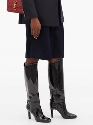 Saint Laurent Jane Knee-high Patent-leather Boots - Black