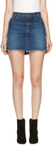 Saint Laurent Blue Asymmetric Denim 'Je T'aime' Miniskirt
