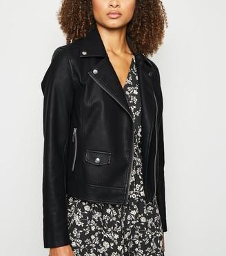 New Look Tall Leather-Look Biker Jacket