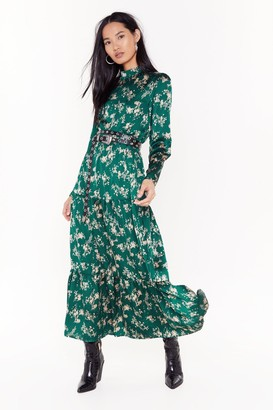 Nasty Gal Womens Nothing Bud a Goodtime Floral Maxi Dress - Green - 6, Green