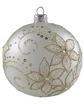 clear Christmas Shop Orn-Bauble Glass Opaque W/ Beaded Flowers 10Cm