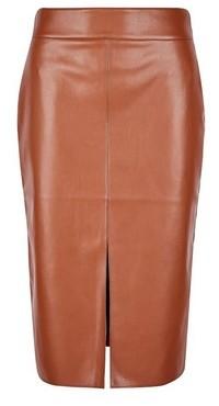 Dorothy Perkins Womens Petite Tan Pu Midi Skirt