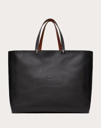 Valentino Garavani Uomo Valentino Garavani Identity Reversible Leather Tote Bag Man Black 100% Pelle Di Vitello - Bos Taurus OneSize