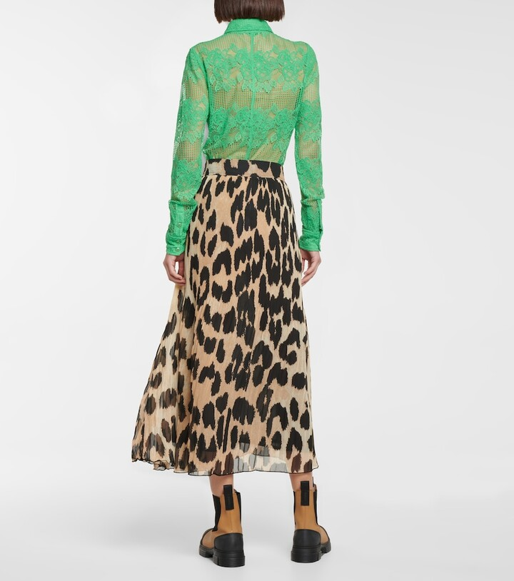Thumbnail for your product : Ganni Leopard-print georgette midi skirt