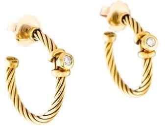 David Yurman 18K Diamond Hoop Earrings