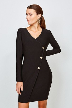 Karen Millen Gold Button Faux Wrap Knitted Dress