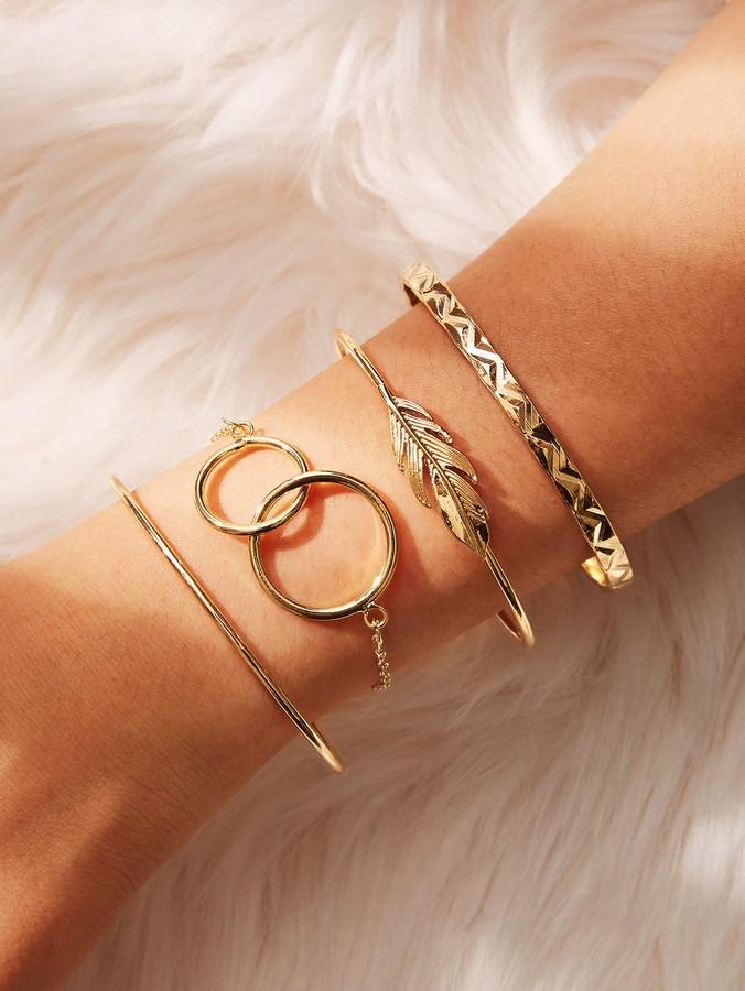Shein Link Circle & Feather Cuff Bracelet 4pcs