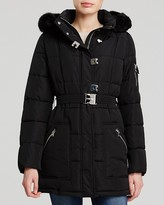 Calvin Klein Turnkey Quilted Coat with Faux Fur