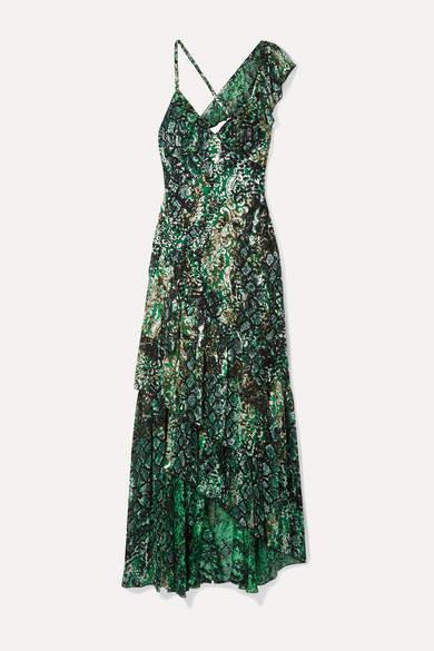 Alice + Olivia Alice Olivia - Shanel Ruffled Printed Fil Coupé Chiffon Maxi Dress - Green