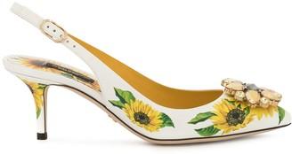 Dolce & Gabbana Sunflower print slingback pumps