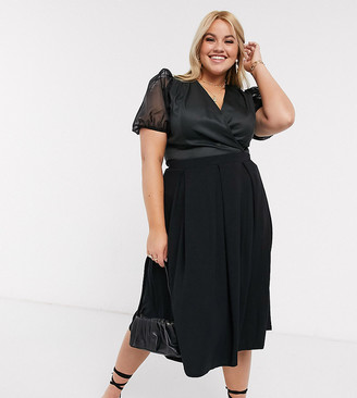 ASOS DESIGN Curve midi skirt with box pleats in black
