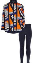 River Island Girls blue print shirt leggings set